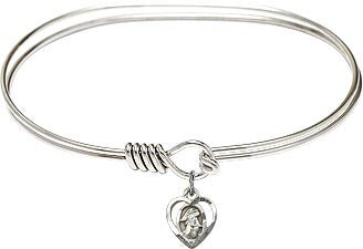 Guardian Angel Heart Bangle Bracelet