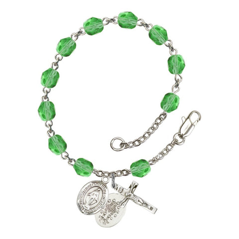 Miraculous Green August Rosary Bracelet 6mm