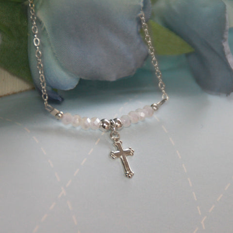 Sterling Silver Cross and Matte White Crystals