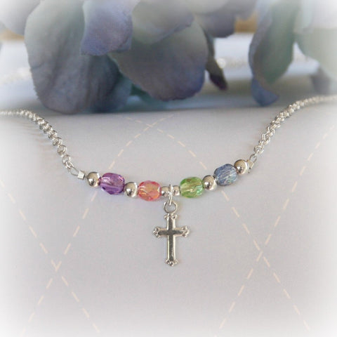 Sterling Silver and Pastel Crystals Cross Necklace