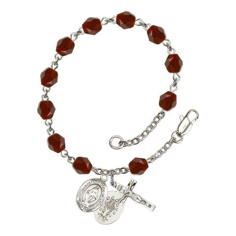 Miraculous Red January Rosary Bracelet 6mm