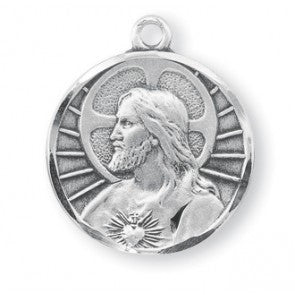 "Sterling Silver Scapular Medal with 24"" Chain"
