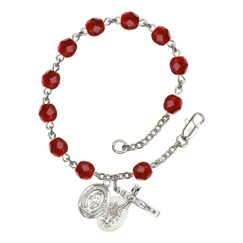 Miraculous Red July Rosary Bracelet 6mm