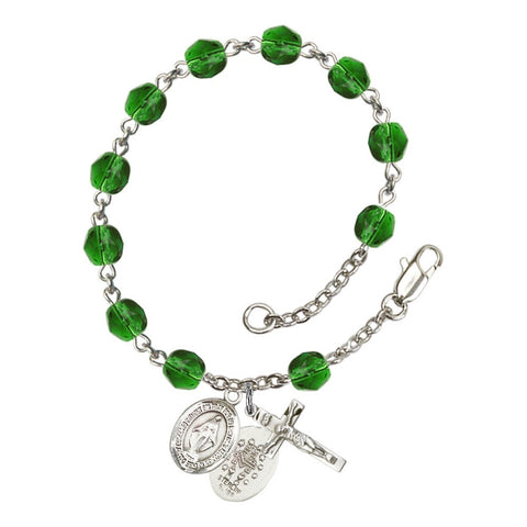 Miraculous Green May Rosary Bracelet 6mm