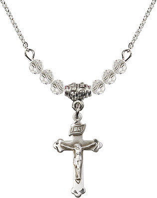 Crystal Bead Crucifix Necklace