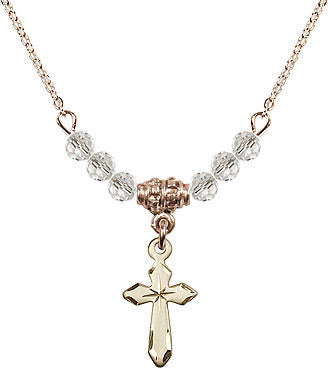 Crystal Bead Gold Plate Cross Necklace