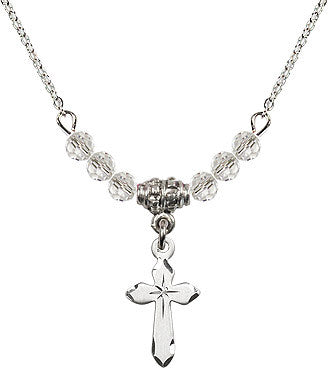 Crystal Bead Cross Necklace