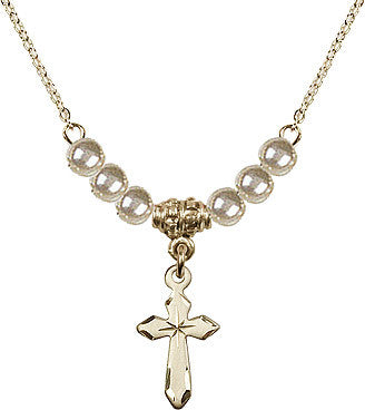 Faux Pearl Gold Plate Cross Necklace