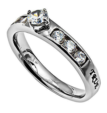 "Princess Solitaire Ring ""True Love Waits"""