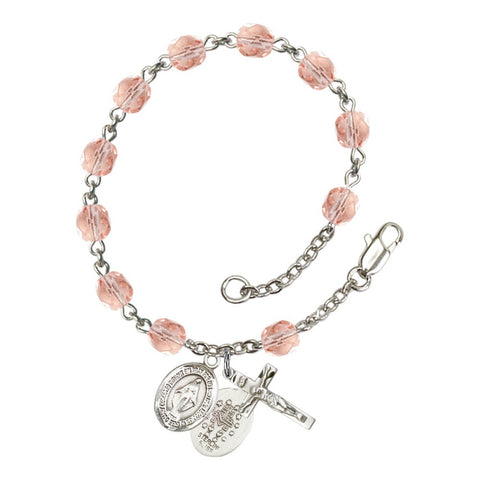 Miraculous Pink October Rosary Bracelet 6mm