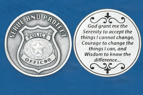 Police Officer/ Serenit Prayer Pocket Token