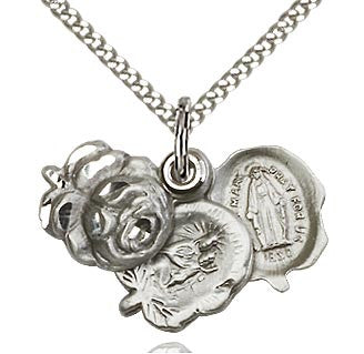 Rosebud Miraculous Medal Necklace
