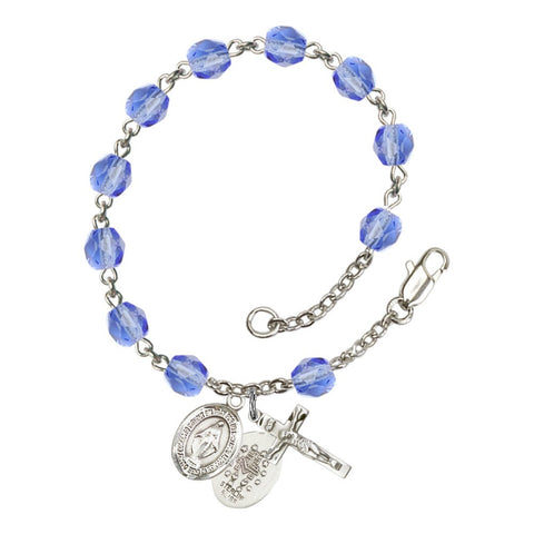Miraculous Blue September Rosary Bracelet 6mm