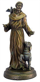 St. Francis with Animals Bronze Statue 8""