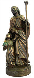 St. Christopher Child Bronze Statue 8""