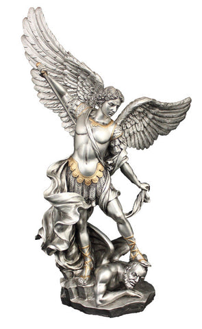 St. Michael Pewter Style with Gold Trim 10""