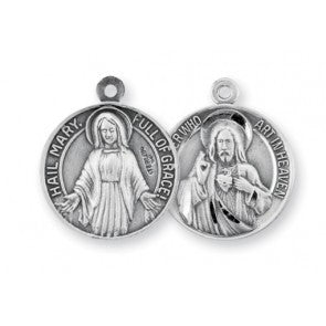 Sterling Silver Our Father/Hail Mary Medal with Chain