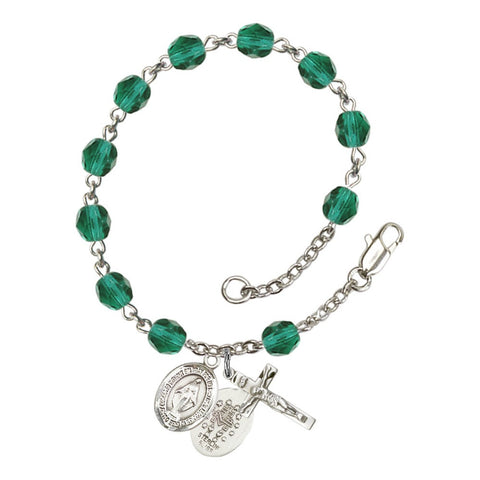 Miraculous Teal December Rosary Bracelet 6mm