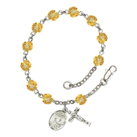 Miraculous Yellow November Rosary Bracelet 6mm