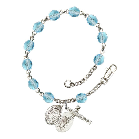 Miraculous Aqua Blue March Rosary Bracelet 6mm