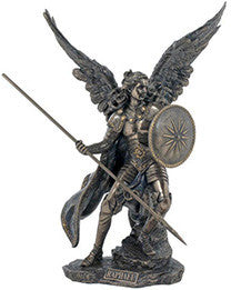Archangel Raphael, Lightly Hand-Painted, Cold-Cast Bronze, 13.5""