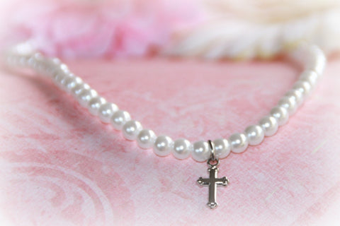 "Glass Pearls 15"" necklace with Rhodium Cross"
