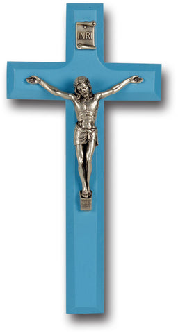 Blue Wood Crucifix 7""