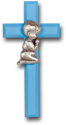 Blue Wood Cross with Praying Boy 7""