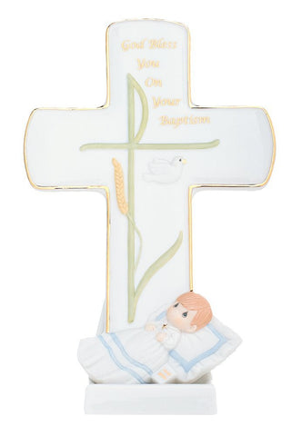 "Precious Moments ""God Bless You On Your Baptism"" Boy Porcelain Cross"