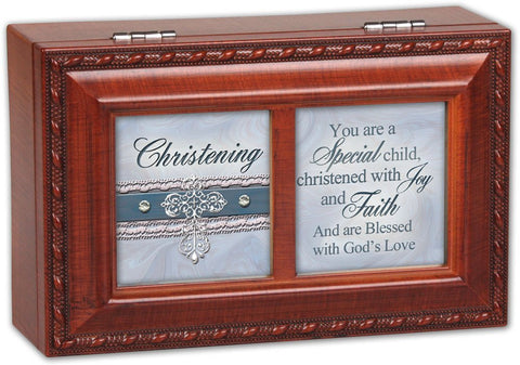Christening Petite Music Musical Jewelry Box Plays Amazing Grace