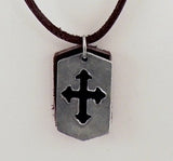 Cut Out Celtic Cross Leather Necklace