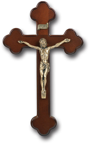 Dark Cherry Wood Crucifix with Museum Gold 10""