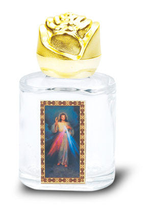 Divine Mercy Glass Holy Water Bottle 2.5""