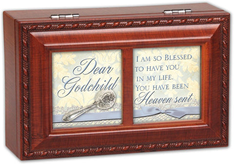 Dear Godchild Woodgrain Petite Music Box