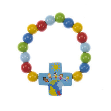 Children of the World Wood Bracelet with Blue Cross