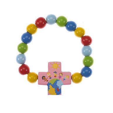 Children of the World Wood Bracelet with Pink Cross