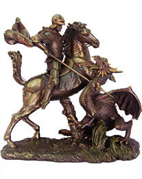 St. George, Cold-Cast Bronze, Lightly Hand-painted, 11.5""