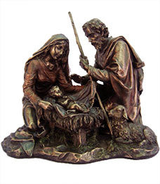 Nativity, Cold-Cast Bronze, Lightly Hand-Painted, 8.25""
