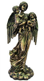 Guardian Angel, Cold-Cast Bronze, Lightly Hand-Painted, 11""