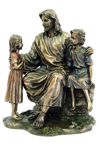 Christ with Children, Cold-Cast Bronze, 8.25