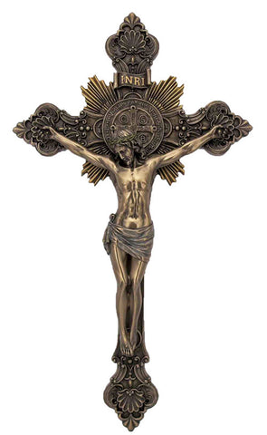 St. Benedict Crucifix, Cold-Cast Bronze, Lightly Hand-Painted 14""