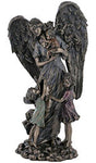 Guardian Angel with children, lightly hand-painted, cold cast bronze, 11""