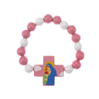 Mary with Jesus Wood Bracelet Pink