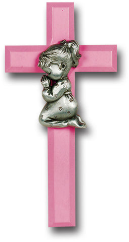 Pink Wood Cross with Praying Girl 7""