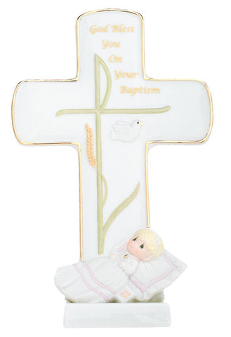 "Precious Moments ""God Bless You On Your Baptism"" Girl Porcelain Cross"