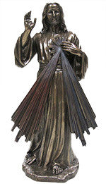 Divine Mercy, Cold-Cast Bronze, Lightly Hand-Painted, 12""