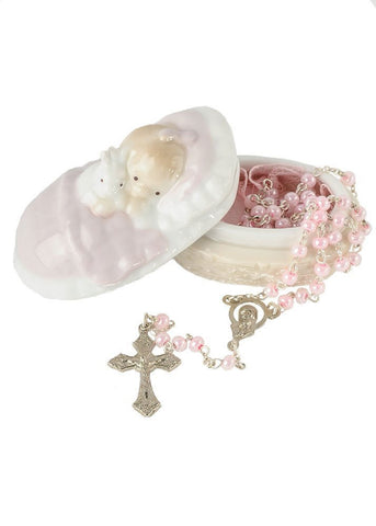 Pink Rosary in a Porcelain Keepsake Box