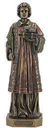 St. Stephen, cold cast bronze, lightly hand-painted, 9""