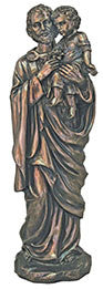 St. Joseph and Child in gold cast bronze, 11""