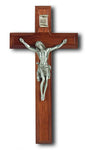 Walnut and Genuine Pewter Crucifix 7""